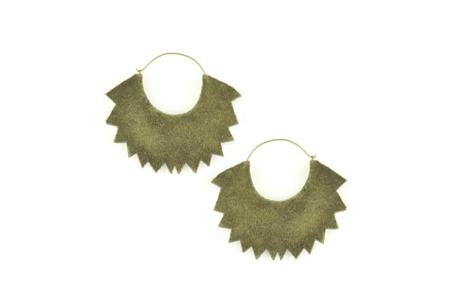 Boucles d'oreilles brodées Maria | Mousse/Corail | Photo 3