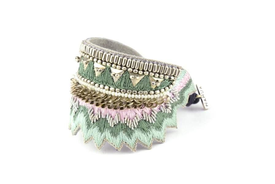Bracelet ethnique Maheswari | Sauge | Photo 2