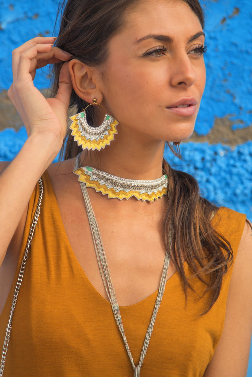 Mahi embroidered necklace   Mustard   Photo 1