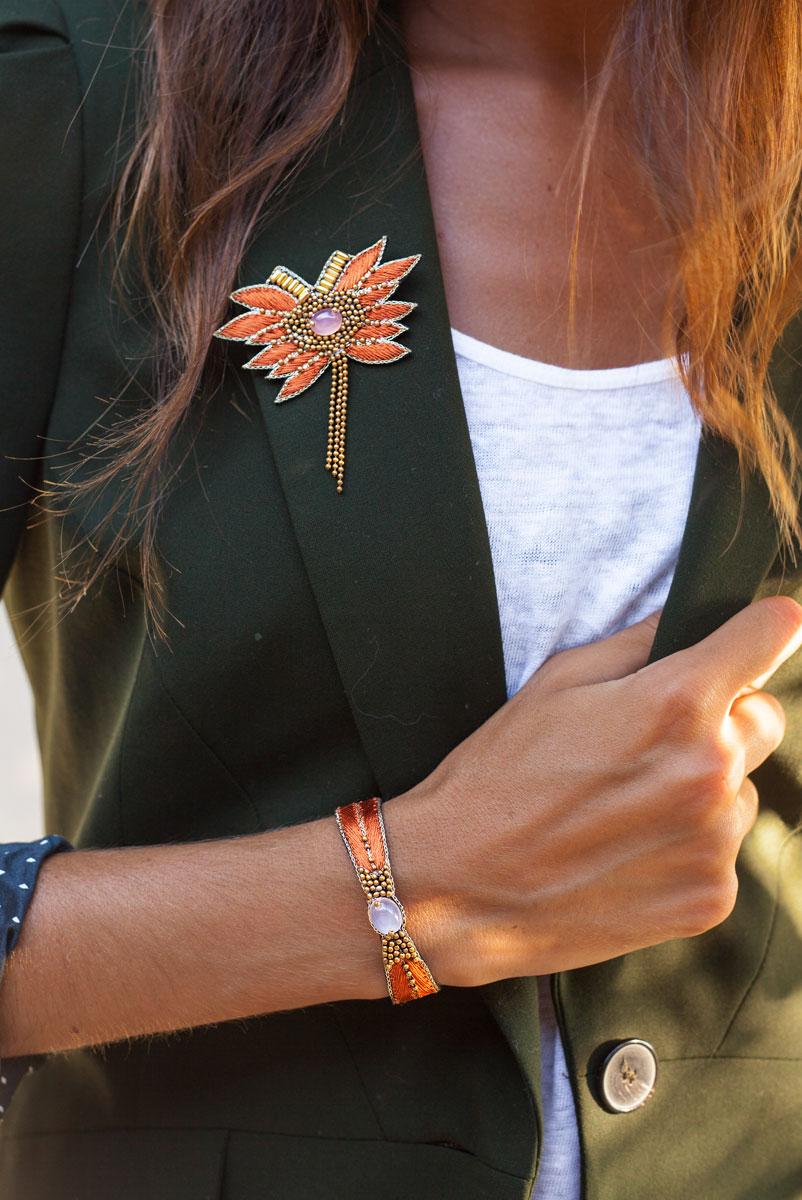 Bracelet ethnique Branis | Grey/Raspberry | Photo 2