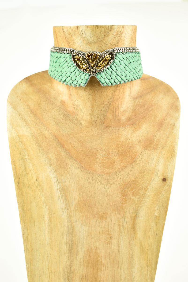 Chocker brodé en cuir Anabel | Turquoise | Photo 2