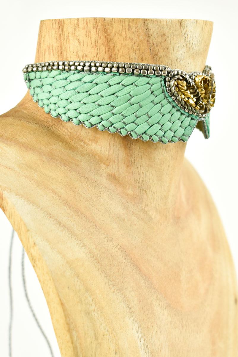Chocker brodé en cuir Anabel | Turquoise | Photo 1