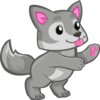 Wolf pup clipart with tongue out and paw held up