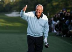 Honorary starter Arnold Palmer gestures after hitting a drive to begin the 2007 Masters golf tournament on the first tee at the Augusta National Golf Club in Augusta, Georgia, U.S. on April 5, 2007.     REUTERS/Mike Blake/File Photo