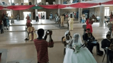 Photo of Couple Observe Social Distancing During There Church Wedding In Benue (Photos)