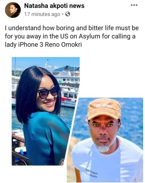 life must be, Bitter and Boring for you away in the US on Asylum for calling a lady iPhone 3 - Natasha Akpoti Reply Reno Omokri |