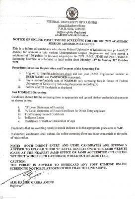 FUKASHERE Post-UTME/DE 2021: cut-off mark, eligibility and registration details