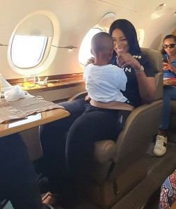 """Jayce flying his first Private Jet at 1! Hehe. You better always obey your mother o. Off to Owerri with the clan for @sandraikeji wedding. #soblessed!"""""""