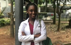Adeosun Goodness in her medical outfit