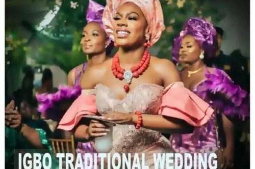 igbo bride on igba nkwu wine carrying day