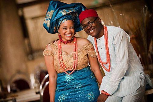 image of igbo husband and wife wearing igbo traditional attire
