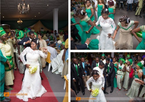 couple dancing with bridesmaids groomsmen at a white wedding