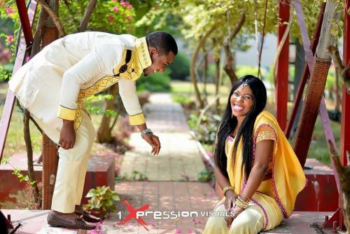 couple in indian inspired pre-wedding shoot
