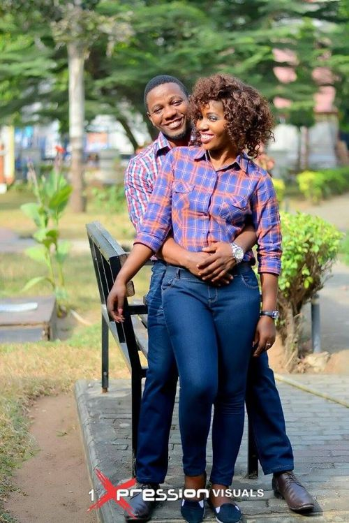 couple in denim jeans themed pre-wedding picture