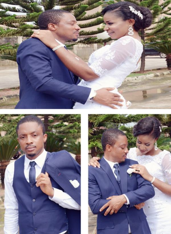portrait pictures of happy bride and groom from a benin white wedding in Edo state