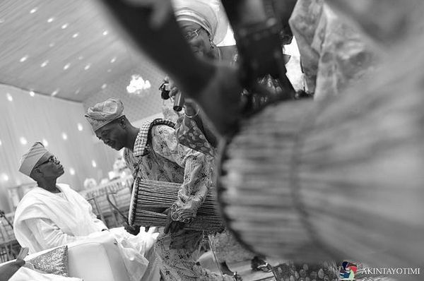 Picture: talking drummer entertains at a yoruba traditional wedding