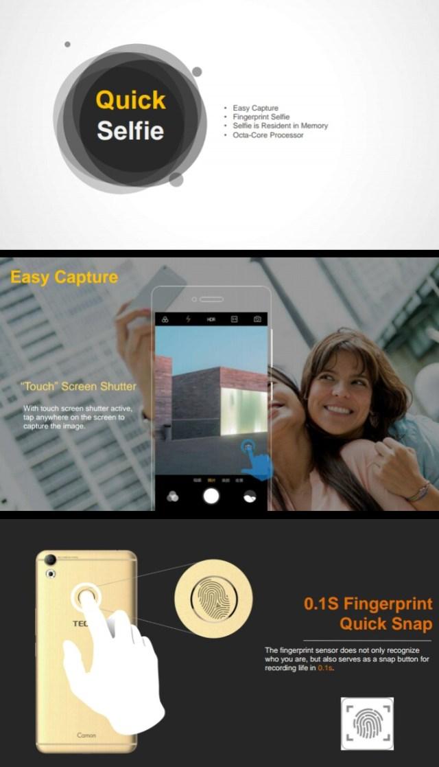 Tecno Camon CX and Camon CX Air – Fingerprint Snap