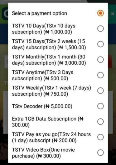 About TSTv decoder subscription table - Quickteller