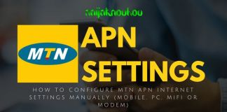 MTN APN SETTINGS (ACCESS POINT NETWORK)