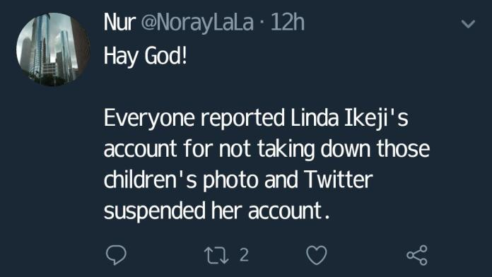 linda ikeji twitter account blocked