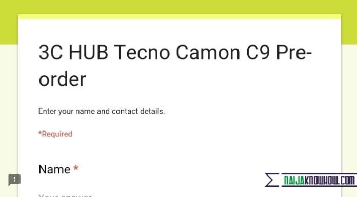 Pre-order your Tecno Camon c9