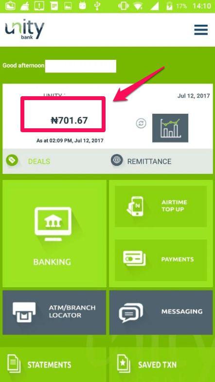 unity bank account balance