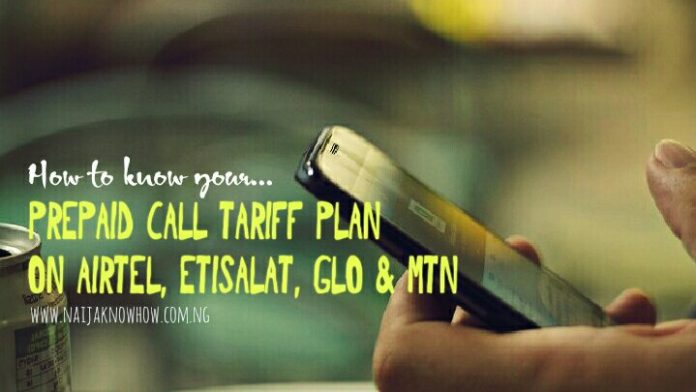 know your prepaid call tariff plan on all Network