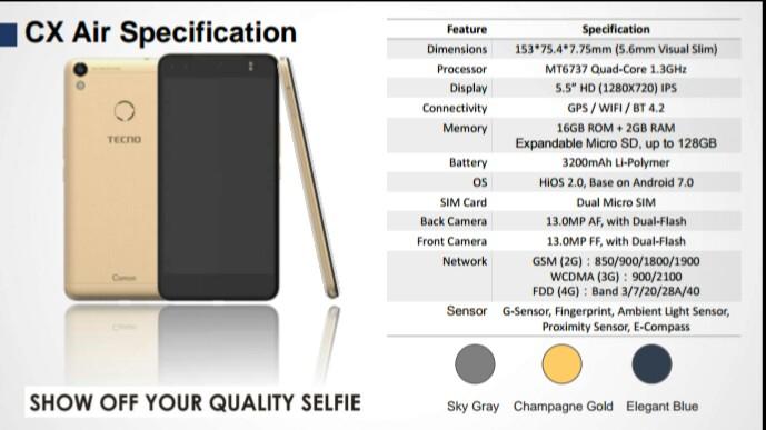 TECNO Camon CX Air Key Specifications