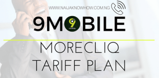 9MOBILE MORECLIQ TARIFF PLAN