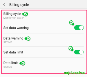 data usage settings