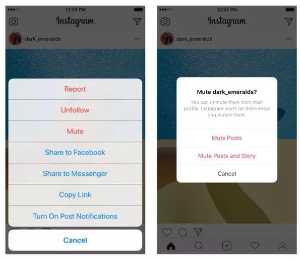 instagram mute option
