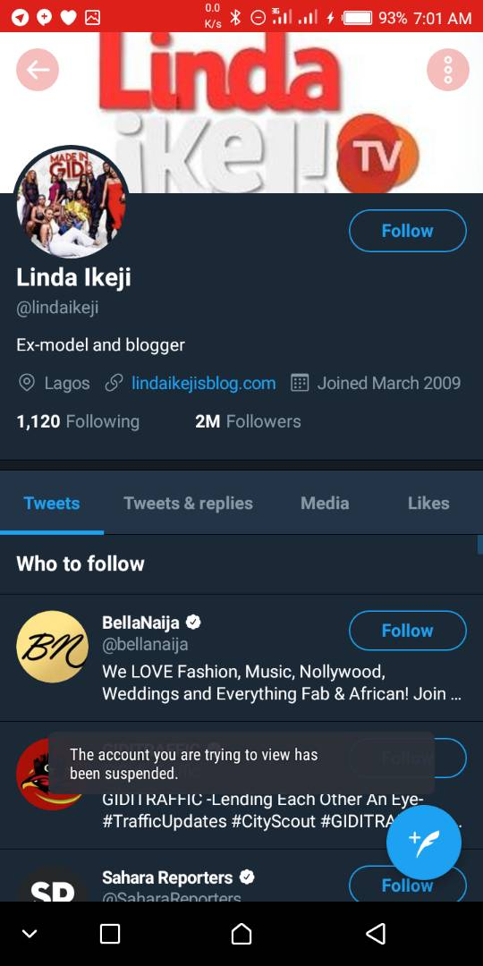 linda ikeji's twitter account blocked