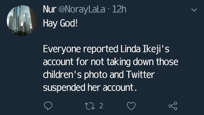 linda ikeji twitter account blocked