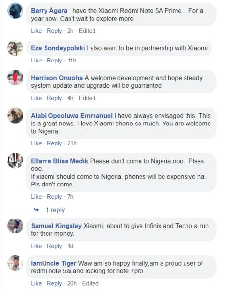 Xiaomi coming to Nigeria comments