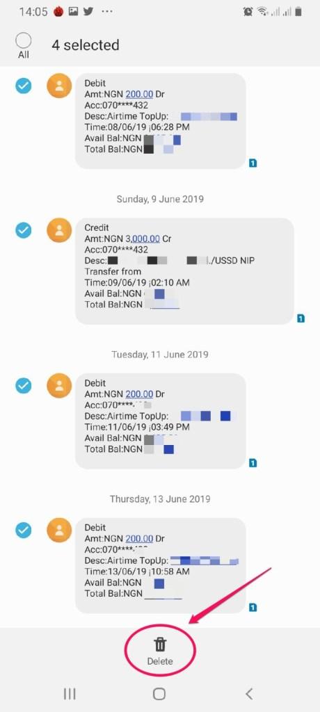 delete bank sms alerts