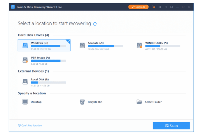 EaseUS Data Recovery Wizard application