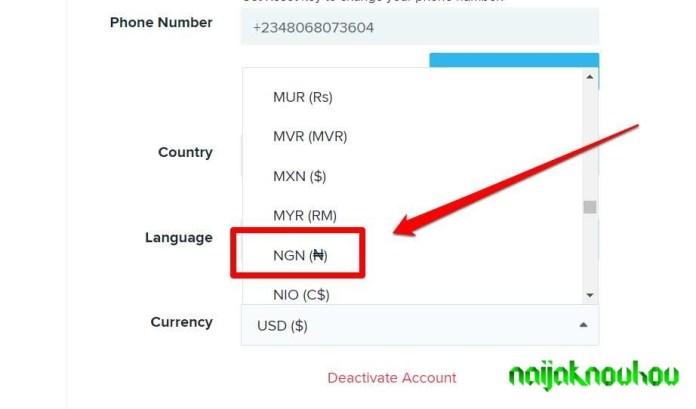 change wish currency to naira