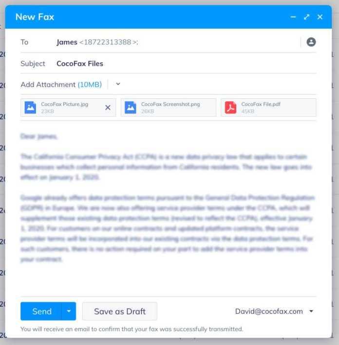 send fax with cocofax
