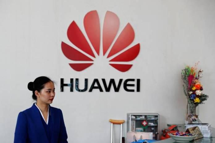 Huawei logo in the Shenzhen office, China