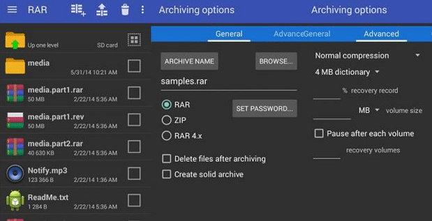 Open RAR file with RAR app