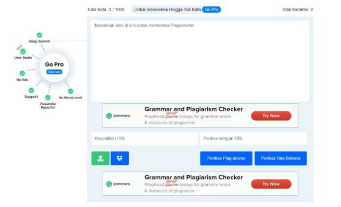 Plagiarism Detector - website to check plagiarism online