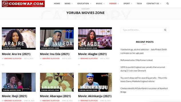 codedwapng - website to download yoruba movies