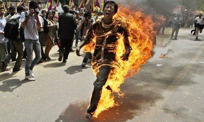 Sprinting through New Dehli engulfed in flames