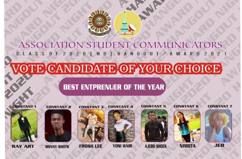 VOTE STUDENT ENTREPRENEUR OF THE YEAR ASCOM AWARDS