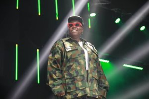 Teni Rocks Military uniform as she storms her show in Lagos.