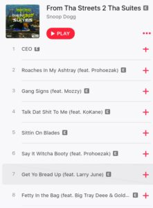 Snoop Dogg Song list from his album