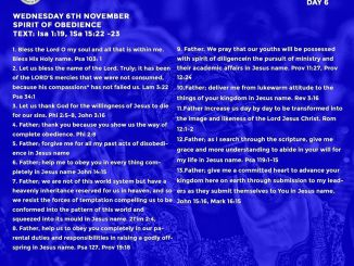 Open Heavens Devotional 6th November 2019