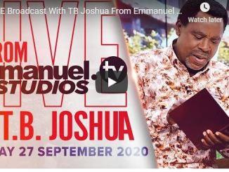 Prophet TB Joshua Sunday Live Service September 27 2020