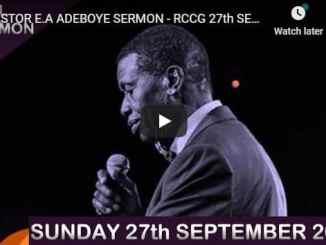 RCCG Sunday Live Service September 27 2020