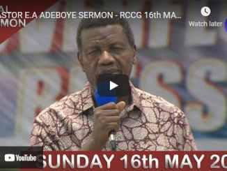 RCCG Sunday Live Service May 16 2021 With Pastor Adeboye